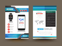 Vector brochure template design for technology product. Business graphics brochures. Used for cover layout, infographics, brochures, flyers and prints Royalty Free Stock Images