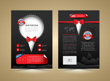 Vector brochure template design tuxedo style. Stock Photos