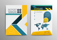Vector brochure template design with world map. Stock Photos