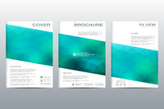 Vector brochure template, flyer, cover magazine in A4 size. Business abstract background with triangles. Stock Photography