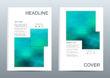 Vector brochure template, flyer, cover magazine in A4 size. Business abstract background with triangles. Stock Photos