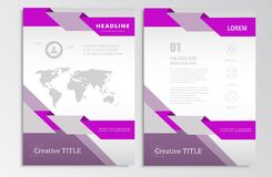 Vector brochure template A4 format layout headers.  Royalty Free Stock Photos