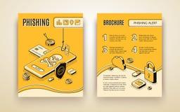 Vector brochure template with phishing alert concept vector illustration