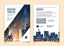 Free Vector Brochure Template With Cityscape At Night Royalty Free Stock Photo - 125340695