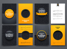 Vector brochures with doodles backgrounds on. Vector design brochures with doodles backgrounds on business theme Royalty Free Stock Image