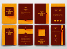 Vector brochures with doodles backgrounds on. Vector design brochures with doodles backgrounds on business theme Stock Photos