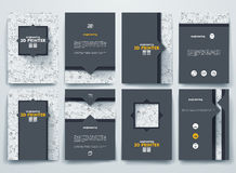 Vector brochures with doodles backgrounds on three Royalty Free Stock Images