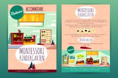 Vector brochures with Montessori kindergarten for children stock illustration