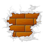 Vector broken brick wall. Broken brick wall with crack vector illustration Royalty Free Stock Photography