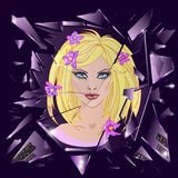 Vector broken glass with reflection of cute girl. Emotional illustration Royalty Free Stock Photography