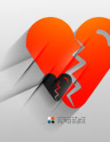 Vector broken heart paper 3d design Royalty Free Stock Image