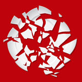 Vector broken plate. White destroyed plate on red background Royalty Free Stock Images