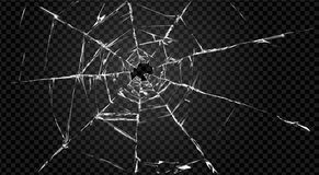Broken transparent glass with hole in it. Vector broken transparent glass with cracks and hole in it Royalty Free Stock Image