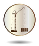 Vector  bronze and ivory icon with high detailed vector hoisting crane  on white with shadow Royalty Free Stock Images