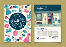 Vector Broschüren mit Mädchenboutique, Karikaturbroschüre lizenzfreie abbildung