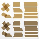 Vector brown adhesive tapes set. Transparent - tape up object will be see. Eps 10  file Royalty Free Stock Photography