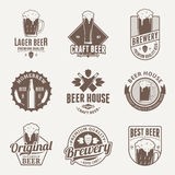 Vector brown beer logo, icons and design elements Royalty Free Stock Images
