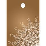 Vector brown beige tag with a large snowflake Stock Images