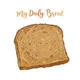 Vector Brown bread isolated Stock Image