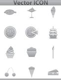 Vector brown cake icons set. Cup and cafe icon Royalty Free Stock Photography