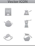 Vector brown coffee icons set and cafe icon Stock Image