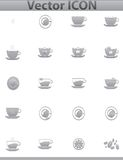 Vector brown coffee icons set. Cup and cafe icon Royalty Free Stock Photo