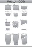 Vector brown coffee icons set. Paper Cup and cafe Royalty Free Stock Photo