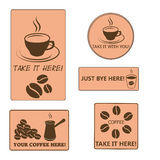 Vector brown collection coffee set Stock Images