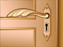 Vector brown door with handle Royalty Free Stock Photography
