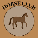 Vector brown label for horse club or riding club with one horse Stock Images