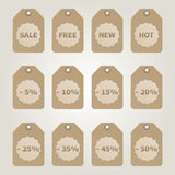 Vector brown Sale Tags Royalty Free Stock Image