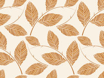 Vector - Brown seamless leafs wallpaper Royalty Free Stock Images