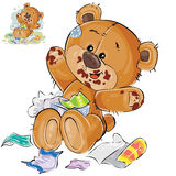 Vector brown teddy bear sweet tooth ate a lot of candy and now sits smeared in chocolate Royalty Free Stock Image