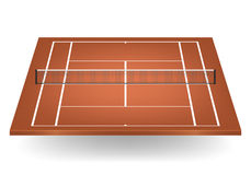 Vector brown tennis court with netting Royalty Free Stock Photos