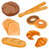 Vector of brown tommy, sliced bread, long loaf, baguettes, buns Royalty Free Stock Photo