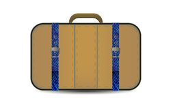 Vector brown travel bag with blue denim inset Royalty Free Stock Photos