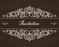 Vector brown vintage hand drawn ornated invitation Royalty Free Stock Photography