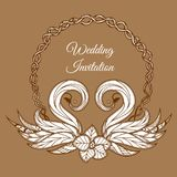 Vector brown wedding invitation. With format eps10 stock illustration