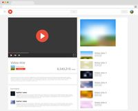 Vector browser window with video player web site mock up. Royalty Free Stock Image