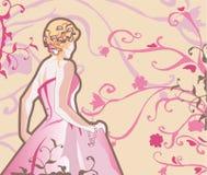 Vector bruid in roze Royalty-vrije Stock Fotografie