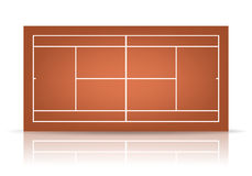 Vector bruine tennisbaan met bezinning Stock Afbeeldingen