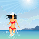 Vector Brunette Girl and the Sea. Beautiful brunette girl with long hair in a white hat and red bathing suit enters the sea Royalty Free Stock Photo
