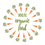 Vector brush with carrot. Fresh vegatable symbol. Print made on cartoon design. Organic food. Stock Photo