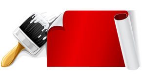 Vector brush with glue and red paper isolsted Royalty Free Stock Image