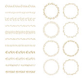 Vector brush and laurel wreath set Royalty Free Stock Photography