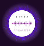 Vector brush like digital fire equalizer. Vector brush digital fire equalizer as circle for radio, image sound wave Royalty Free Stock Photo