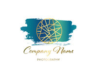 Vector brush logo design template for Corporate, Media, Technology style. Royalty Free Stock Photo