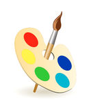 Vector brush palette. Illustration of a paintbrush with artist's palette stock illustration