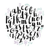 Vector brush pen hand drawn font, alphabet. Letters. Decorated with flowers Royalty Free Stock Photography