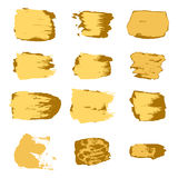 Vector brush stroke gold paint abstract on white background set Royalty Free Stock Images